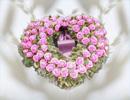 Reisigherz lila Rosen Größe ca. 80 cm
